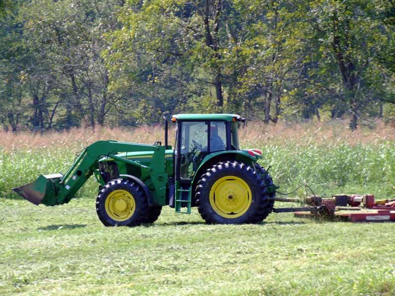 Tractor Bush Hogging in Field