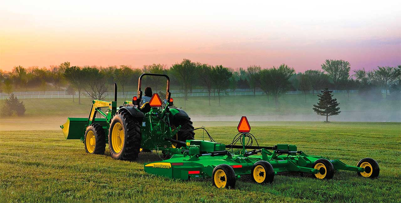 John Deere Tractor Cutting Grass