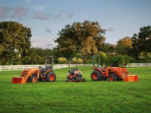 Three Kubota Tractors