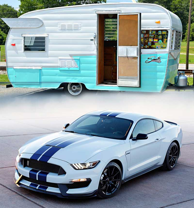 Ford Mustang and Camper Trailer
