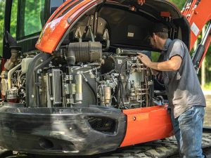 Nelson Tractor Mobile Service Technician Working on a Kubota Excavator